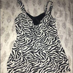 Cute zebra striped tank top with built in bra